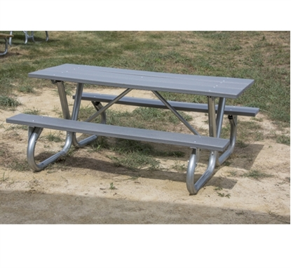"Picture of 6 ft Recycled Plastic Picnic Table - Bolted 2 3/8"" Frame - Portable"