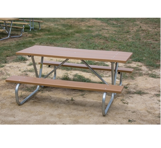 """Picture of 6 ft Recycled Plastic Picnic Table - Bolted 1 5/8"""" Frame - Portable"""