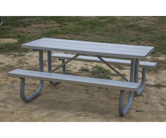 "Picture of 6 Ft. Rectangular Aluminum Picnic Table - 2 3/8"" Welded Frame - Portable"