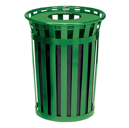 Picture of 36 Gallon Round Trash Can - Powder Coated Steel with Flat Top - Portable