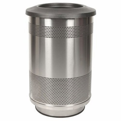 Picture of Round 55 Gallon Trash Can Stainless Steel with Flat Top - Portable