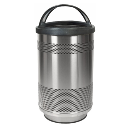 Picture of Round 55 Gallon Trash Can Stainless Steel with Hood Top - Portable
