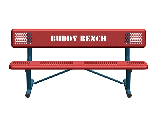 Picture of 8 Ft. Perforated Steel Buddy Bench