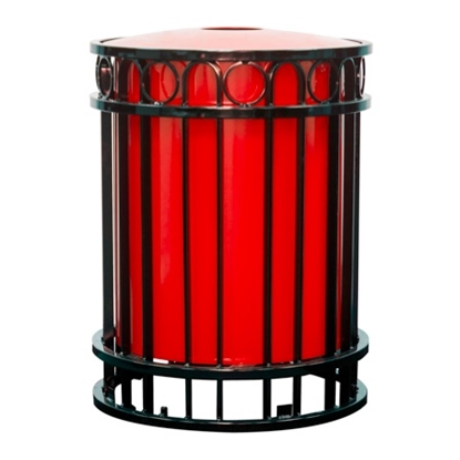 Picture of 32 Gallon Powder Coated Steel Trash Can with Flat Top - Portable