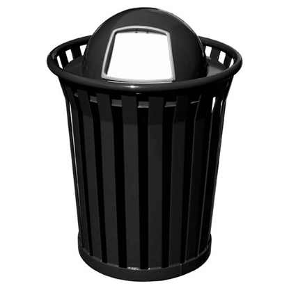 Picture of Round 36 Gallon Trash Receptacle Powder Coated Steel with Dome Top - Portable