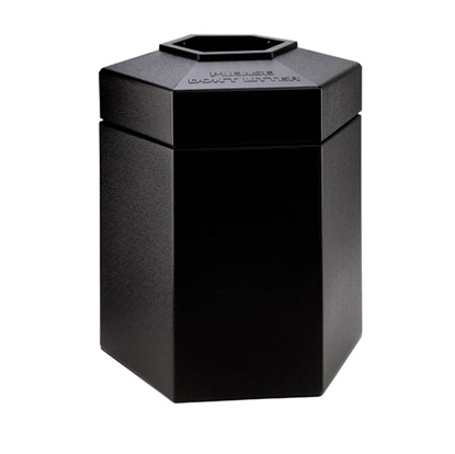 Picture of 45 Gallon Plastic Trash Receptacle - Hexagon Design - Portable
