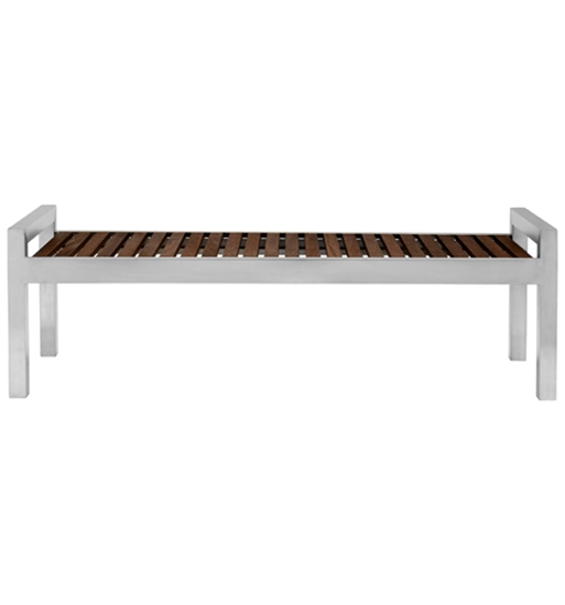 Picture Of 5 Ft. Wood Bench With Stainless Steel Frame   Portable