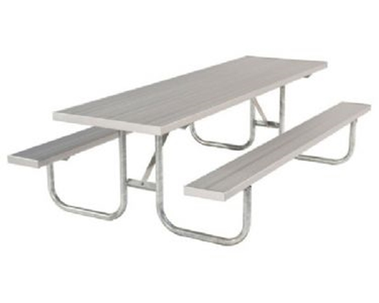 Picture of ADA 8 Ft. Rectangular Aluminum Picnic Table - Galvanized Steel Frame - Quick Ship - Portable