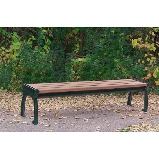 Picture of 8 Ft. Recycled Plastic Bench without Back and Steel Frame - Surface Mount - Portable