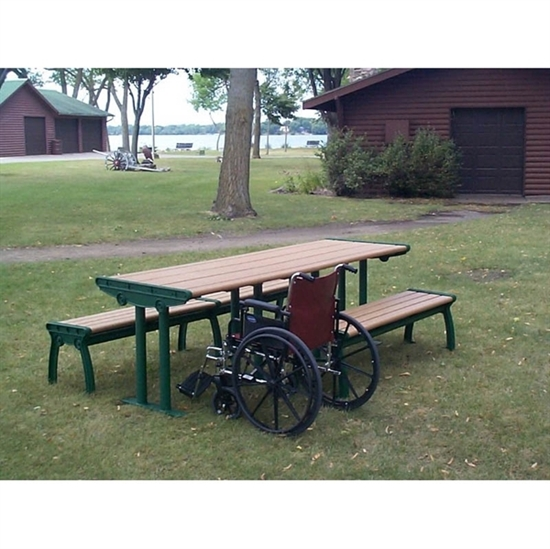 Picture of 8 Ft. ADA Recycled Plastic Picnic Table - Cast Aluminum Frame - Portable / Surface Mount
