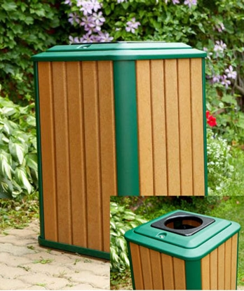 Picture of 32 Gallon Recycled Plastic Trash Can Receptacle - Portable