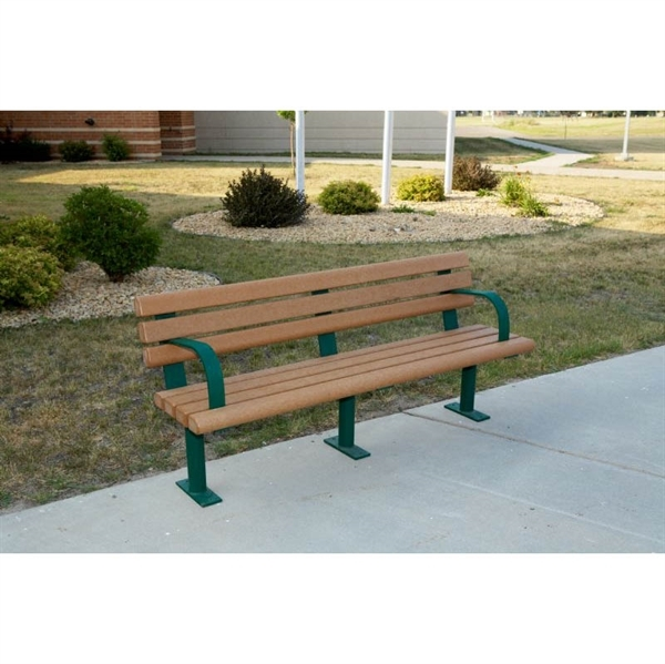 8 Ft Recycled Bench Steel Frame In Ground Or Surface Mount By Park Tables