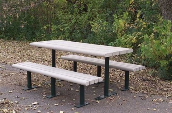 Rectangular 8 Ft Recycled Plastic Picnic Table Steel