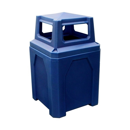 Picture of 52 Gallon Square Trash Can with 4 way top