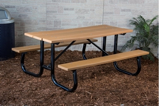 Picture of 8 ft Recycled Plastic Picnic Table - Welded Steel Frame - Portable