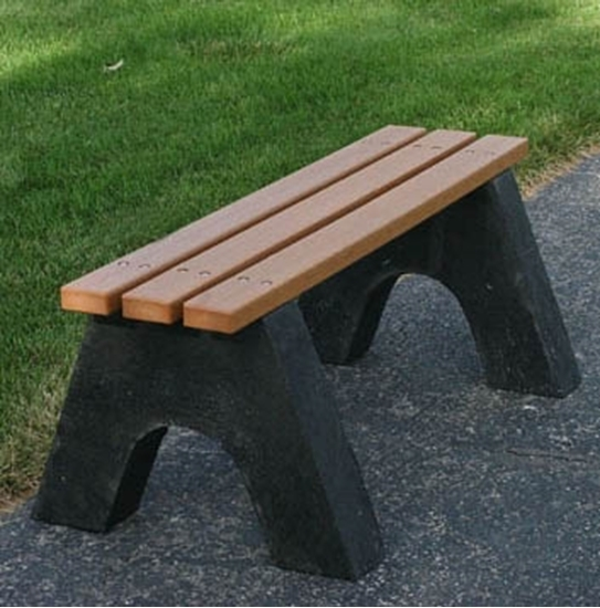 Picture of 4 Ft. Recycled Plastic Bench without Back - Slatted Base - Portable