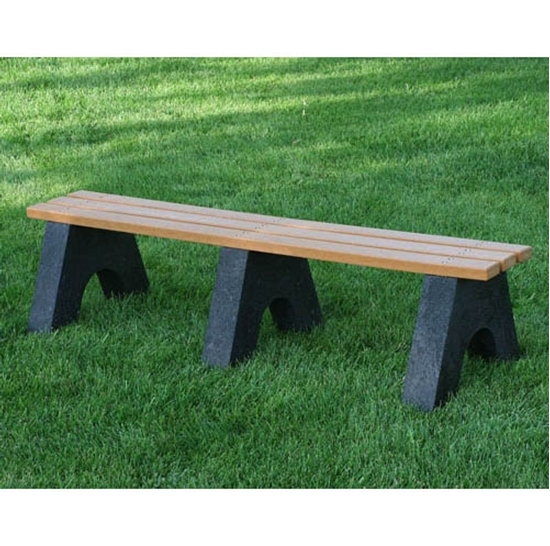 Enjoyable 8 Ft Recycled Plastic Bench Without Back 2X4 In Slats Portable Andrewgaddart Wooden Chair Designs For Living Room Andrewgaddartcom