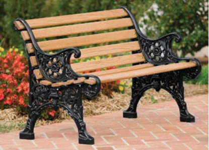 Picture of 5 Ft. Renaissance Bench with Back - Wooden Slats and Metal Frame - Portable