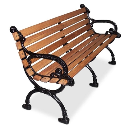 Picture of 80 inch Woodland Contour Bench - Wooden Slats and Metal Frame - Portable