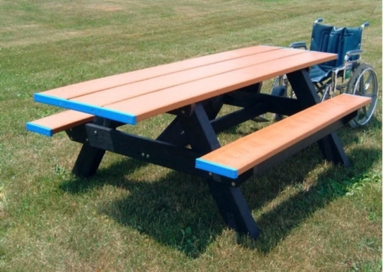Ft Double End ADA Rectangular Recycled Plastic Picnic Table - Ada picnic table requirements