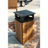 Picture of 40 Gallon Square Trash Can with Rain Cap - Recycled Plastic - Portable