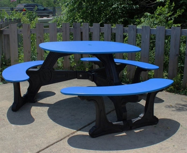 Recycled Plastic Round Picnic Table Portable By Park Tables - Round picnic table with benches