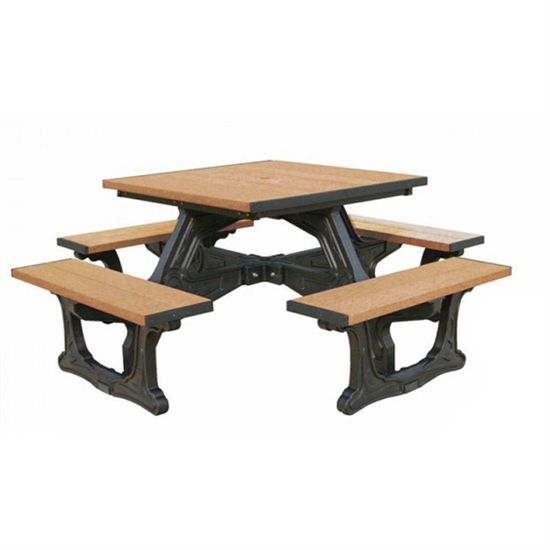 Recycled Plastic Square Picnic Table Portable By Park Tables - Square picnic table with benches
