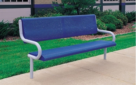 Picture of 6 ft. Bench with Back - Perforated Powder Coated Steel - Inground Mount