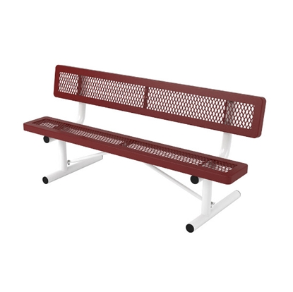 Picture of 6 ft. Bench with Back - Thermoplastic Coated Steel - Expanded Metal - Regal Style - Portable