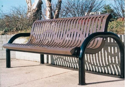 Picture of 6 ft. Bench with Back - Thermoplastic Coated Steel - Ribbed Steel - Portable