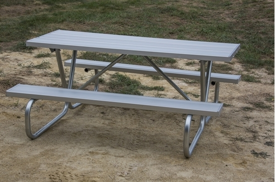 "Picture of 6 Ft. Rectangular Aluminum Picnic Table - 1 5/8"" Bolted Frame - Portable"