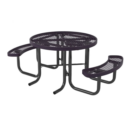 Picture of Two Seat Round Thermoplastic Steel Picnic Table - Wheelchair Accessible - Portable