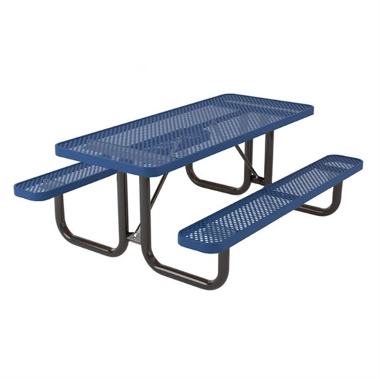 Rectangular 8 foot Thermoplastic Steel Picnic Table - Perforated Style