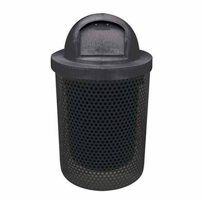 Picture of 32 Gallon Trash Can with Dome Top - Plastic Coated Perforated Metal - Portable