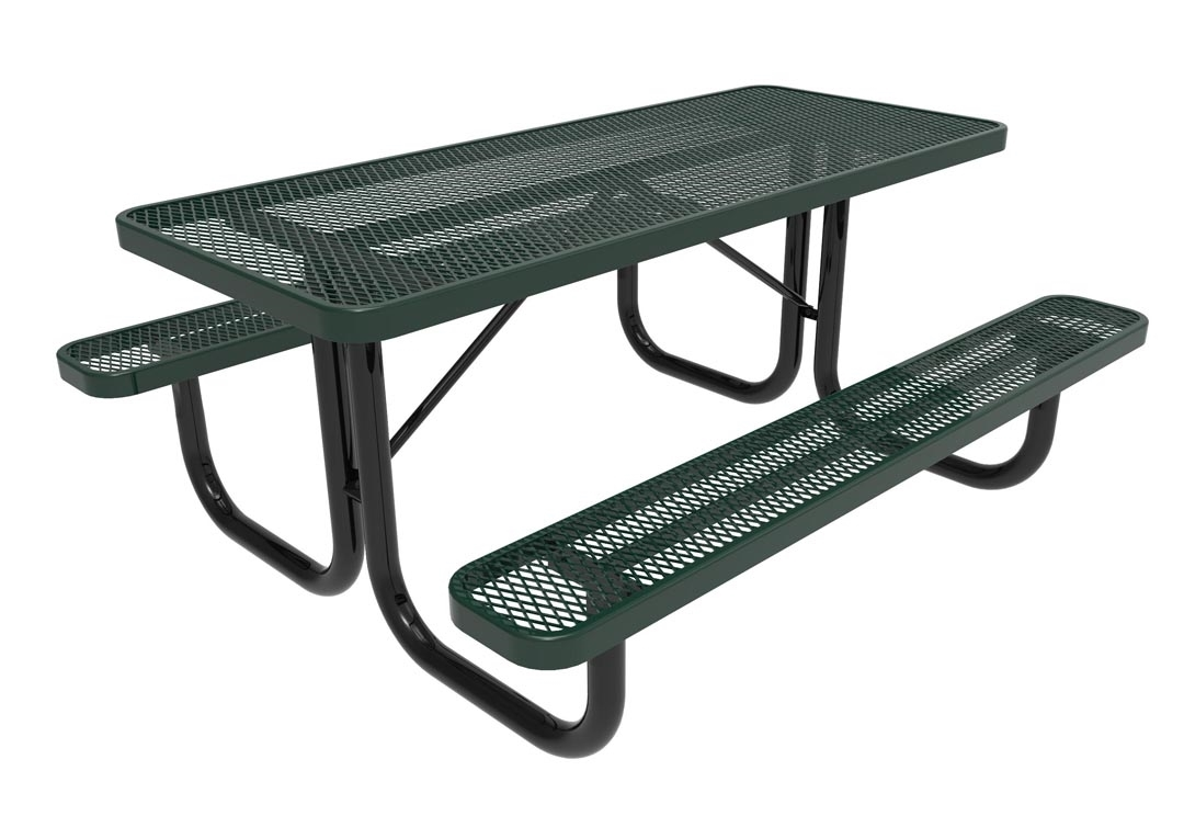 Rhino 6 foot rectangular thermoplastic steel picnic table for Patio table umbrella 6 foot