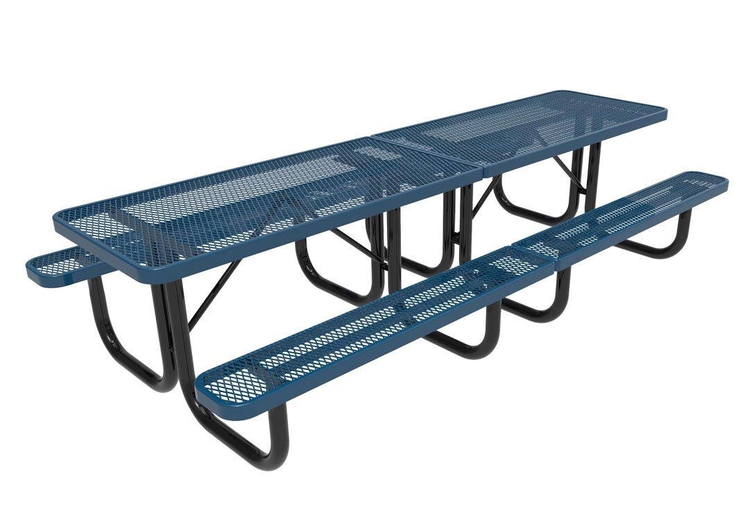 rhino 10 foot picnic table thermoplastic polyolefin perforated metal - Metal Picnic Tables