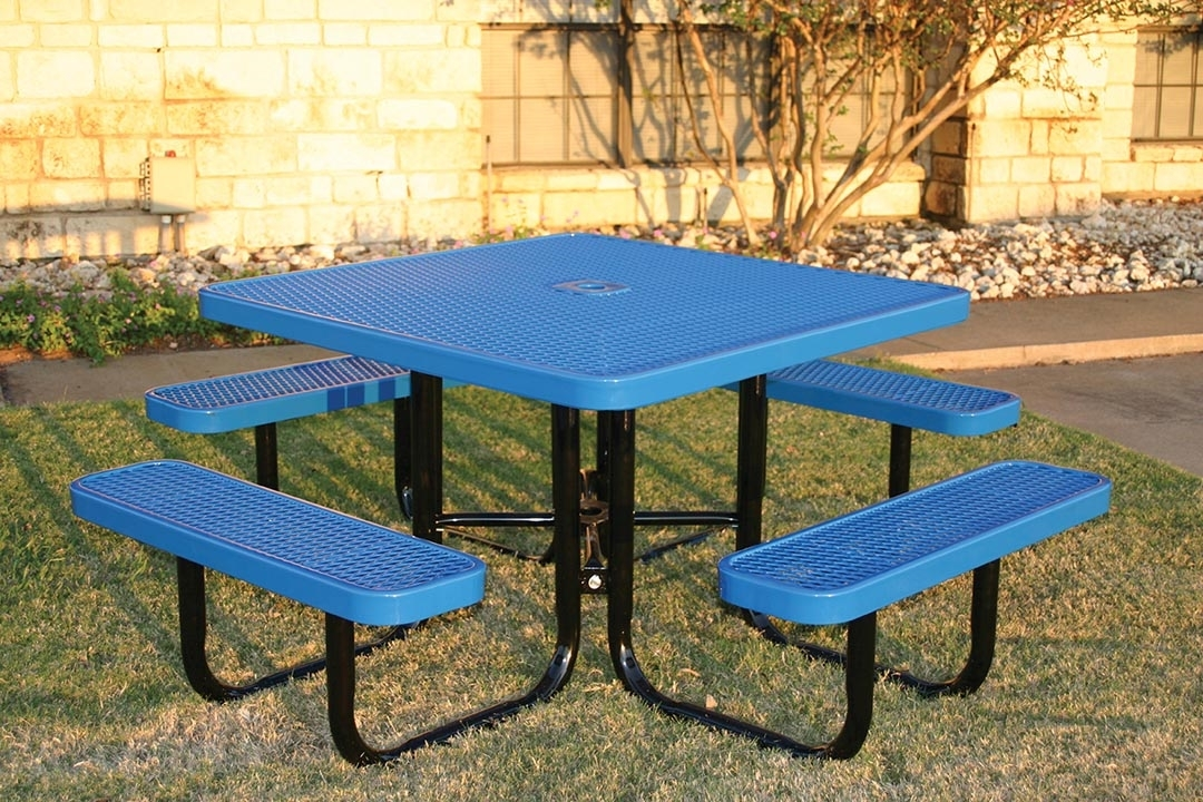 RHINO Square Thermoplastic Steel Picnic Table Quick Ship - Square picnic table with benches