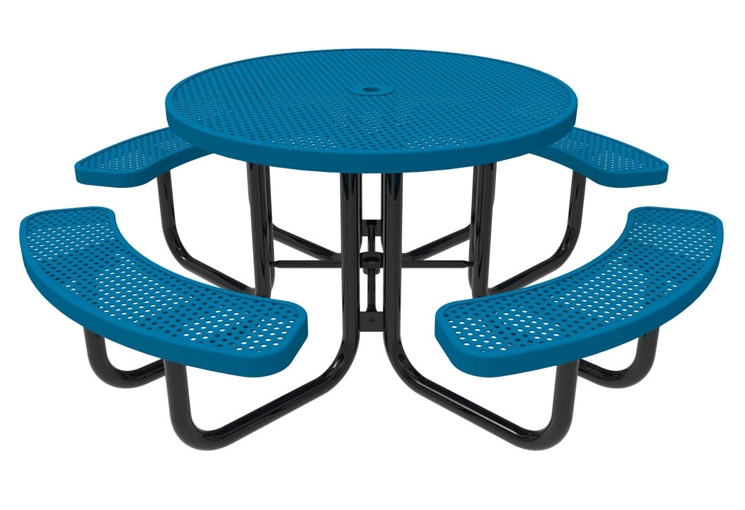 Rhino Round Thermoplastic Steel Picnic Table Quick Ship