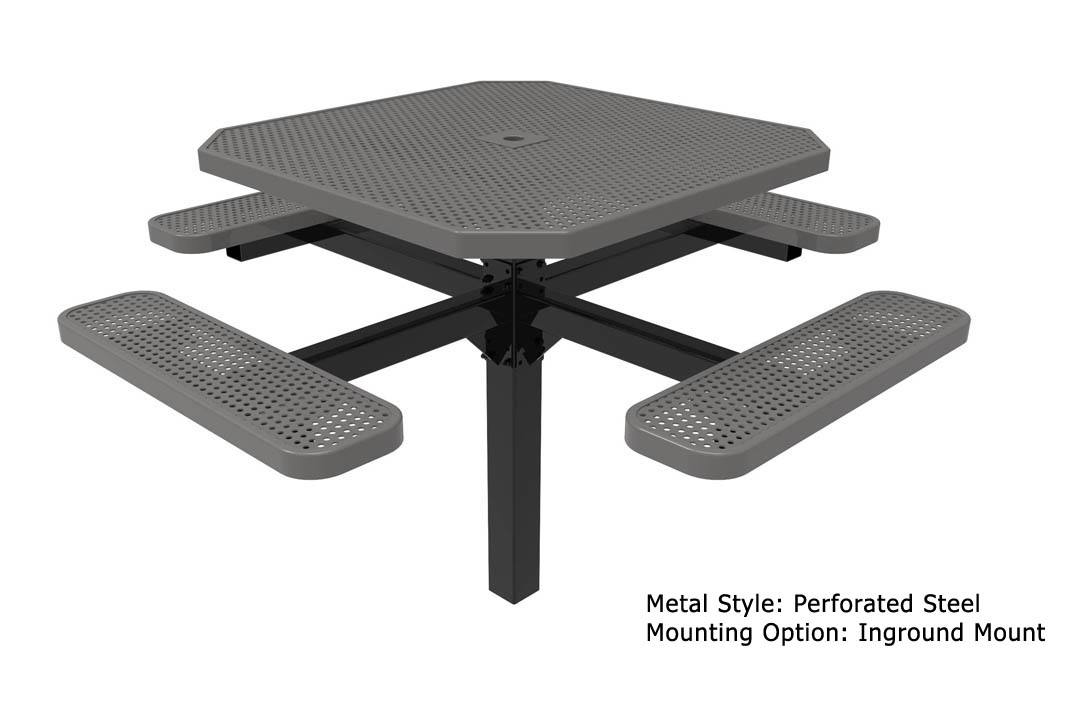 Rhino Octagonal Pedestal Thermoplastic Steel Picnic Table