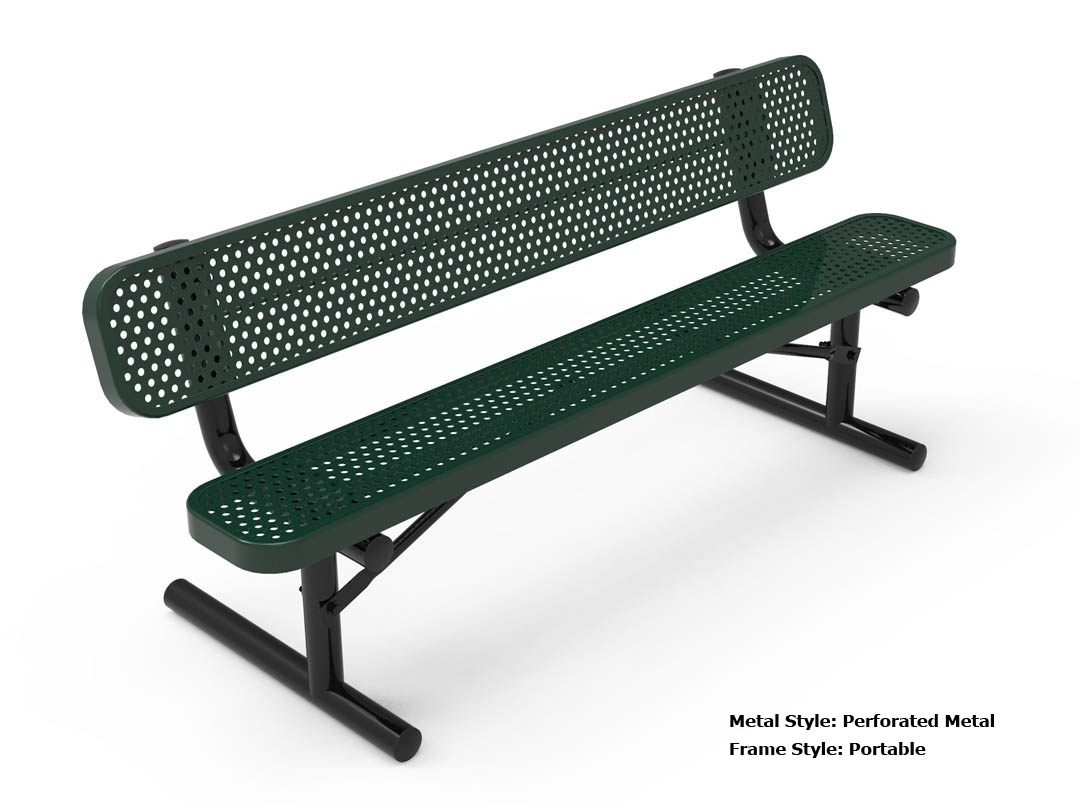 RHINO 6 Foot Rectangular Thermoplastic Metal Bench with Back - Quick ...