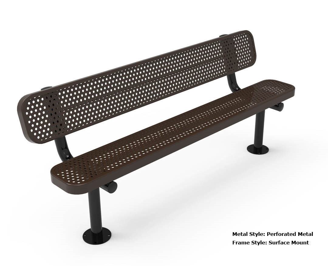 Rhino 6 foot rectangular thermoplastic metal bench with back quick ship by park tables Aluminum benches