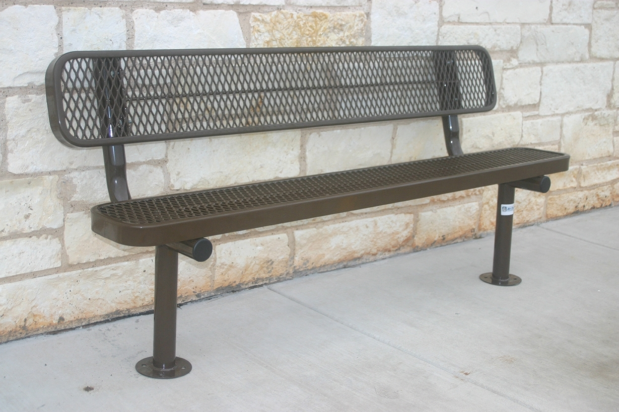Rhino 6 Foot Rectangular Thermoplastic Metal Bench With Back Quick Ship By Park Tables