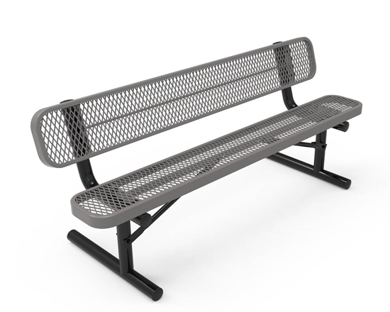 RHINO 6 Foot Bench with Back, Expanded Metal, Portable