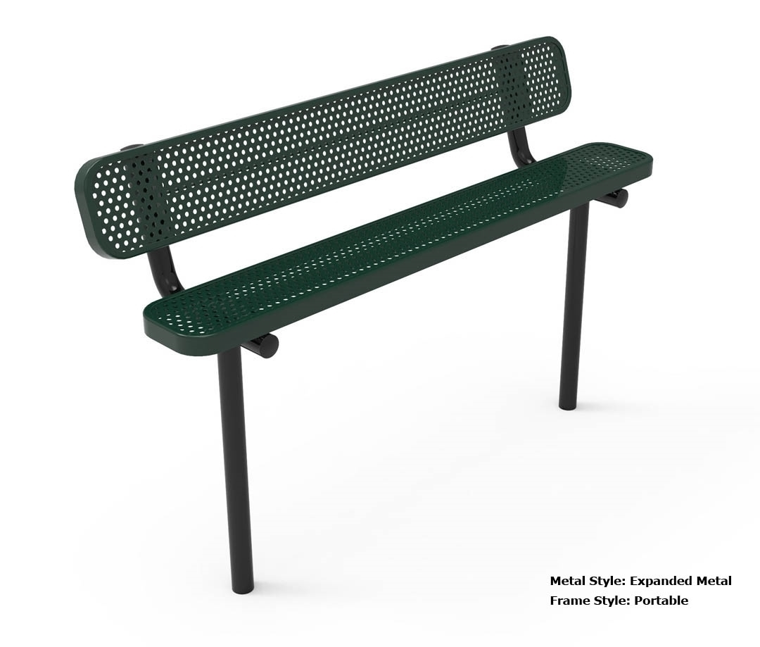 Rhino 8 Foot Rectangular Thermoplastic Metal Bench With Back Quick Ship By Park Tables