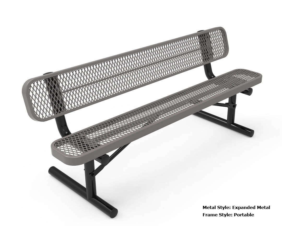 RHINO 8 Foot Rectangular Thermoplastic Metal Bench with Back - Quick ...
