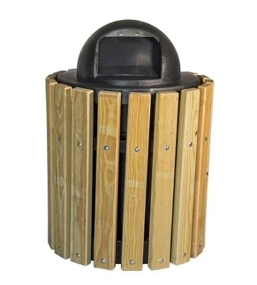 Picture of 32 Gallon Trash Can - Southern Yellow Pine - Receptacle