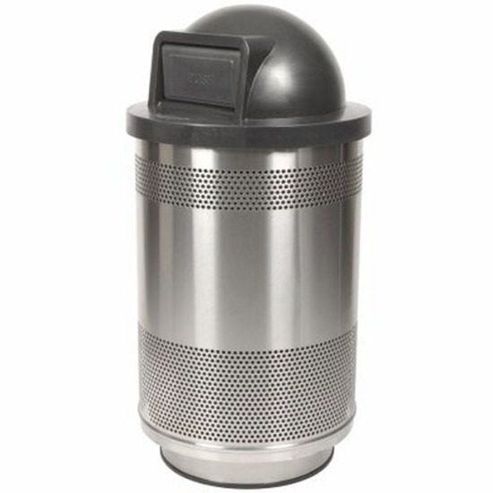 Round 55 Gallon Trash Can Powder Stainless Steel with Dome Top, Portable
