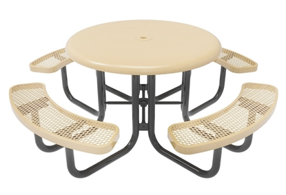 Thermoplastic ELITE Series Solid Top Picnic Table with Expanded Metal Seats
