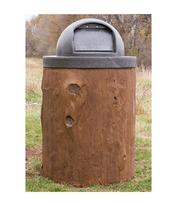 32 Gallon Log Style Concrete Trash Can With Dome Top
