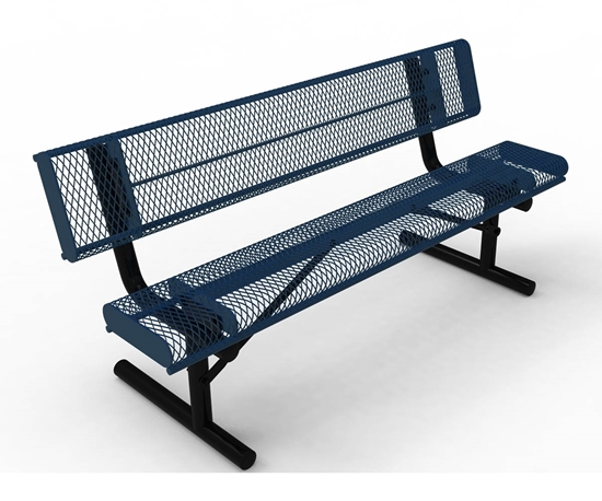 ELITE Series 6 Foot Rolled Edge Bench with Back, Expanded Metal, Portable